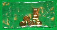 LEGO - Minifig, Utensil Gold Ingot Bar & 4 Gold Coins / Treasure - Chrome Gold