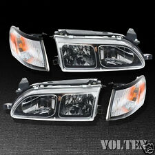 1993-1997 Toyota Corolla Set of 2 Headlight Lamp Clear lens Halogen