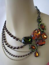 BETSEY JOHNSON ICONIC AUTUMN CRYSTAL GEM MULTI CHAIN STATEMENT NECKLACE~NWT~RARE