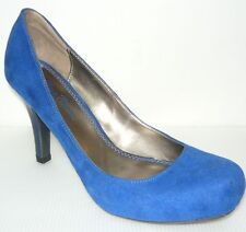 Miss Bison Womans High Heel Suede Blue Shoes sz 8M