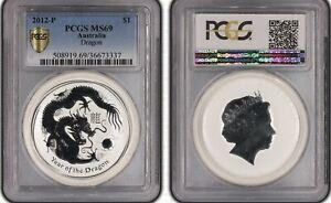 2012-P  AUSTRALIAN ONE OZ SILVER $1 DRAGON  PCGS MS 69