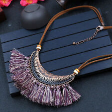 Brown Cord Bohemian Boho Bronze Half Moon Tribal Tassel Fringe Necklace Purple
