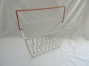 Vintage retro used white & orange plastic coated metal wire bike bicycle basket