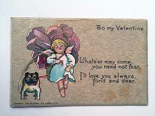 1906 To My Valentine Postcard - Girl Cupid w/ Bull Dog