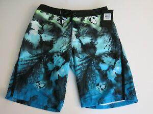 Hurley Boys 28 (16) Blue Lagoon Green Black Tie Dye Print Surf Board Shorts