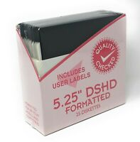 """New In Package Sealed 5.25"""" DSHD Floppy Diskettes Lot Of 25 Disks with Labels"""
