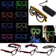 002846e9c6b3 LED EL Wire Glasses Light Up Glow Sunglasses Eyewear Shades DJ Nightclub  Party