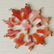 Fashion Cross Natural Red Agate Silver P Beads Pendant 50pcs/lot Wholesale