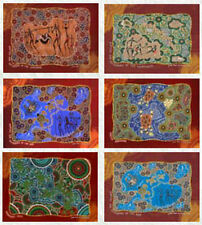 "Placemat Set (6 piece) : Aboriginal Theme with ""Hunters & Gatherers"" designs"