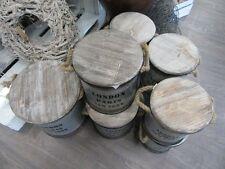 Retro Aufbewahrungstonne aus Metall mit Holzdeckel, Vintage, ca. 30 cm hoch
