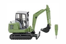 HO Wiking HR18 Mini Excavator in Green w/ Bucket & Hammer : 1/87 Model # 65805