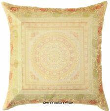 "Indian 17"" Beige Mandala Cushion Pillow Cover Silk Brocade Throw Bohemian Decor"