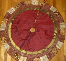 Vintage Red Gold Green Fabric Ribbon Trim Patchwork Christmas Tree Skirt