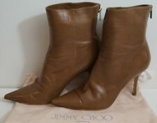 00b99933960ae JIMMY CHOO Brown Pointed Toe Stiletto Heel Gold Tone Ankle Boots EU40.5 UK7.