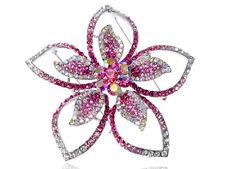 Fashion Floral Flower Pink Crystal Rhinestone Fashion Statement Brooch Pin Gift