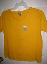 WOMENS shirt size large 12-14 yellow gold textured knit V-NECK WHITE STAG