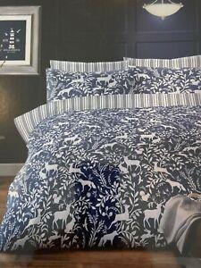 Woodland Animal Design Duvet Cover Set Navy Blue & White Double Bed Polycotton