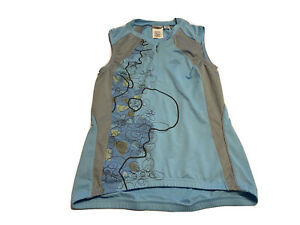 2005 PERFORMANCE CYCLING BICYCLE JERSEY WOMENS S Blue Floral 1/4 ZIP