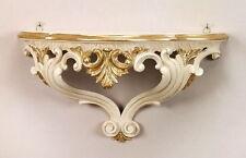 Wandkonsole Elfenbein Weiß-Gold Spiegel Konsole Barock 38x20x16 ANTIK Wandregal