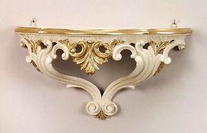 Console Muro Avorio Oro-Bianco Specchio Console Barocco 38x20x16 Antico Mensola