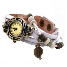 Women Men Vintage Watches Bracelet Wristwatches Leaf Pendant White Wrist Watch