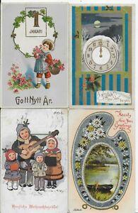 LOT OF 4 GENUINE VINTAGE GREETINGS POSTCARD,CHRISTMAS,NEW YEAR,EARLY 1900'S(52B)