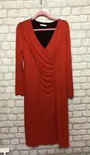 Artigiano Ladies Dress Size 14 Bright Red V Neck Long Sleeve With Stretch