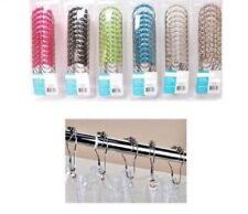 shower curtain hooks rings rust proof roller balls easy glide new