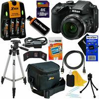 Nikon COOLPIX B500 16MP 40x Zoom Digital Camera,Blak + Batts.& Charger +32GB Kit