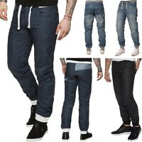 New Enzo Men's Elasticated Denim Jeans Designer Cuffed Jogger All Waist Sizes