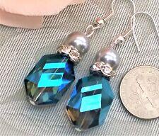 """Blue Crystal Pearl Earrings 1.8"""" Long . Silver tone Oceana Jewellery"""