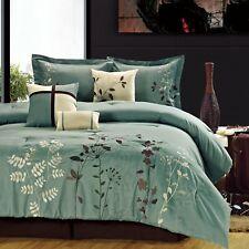 Bliss Garden Sage Comforter Bed In A Bag Set with Sheet Set Queen 12 Piece