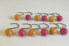 Shower Curtain Hooks, Set Of 12, Pink And Gold Balls, Pretty