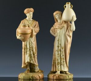 PAIR c1890 ROYAL WORCESTER HADLEY MIDDLE EASTERN CAIRO WATER CARRIERS FIGURINES