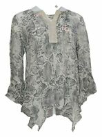 Haute Hippie Tribe Women's Top Sz M Printed Handkerchief Gray A370017