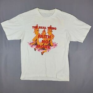 Faith No More 1989 Mens Crew Neck Short Sleeve Vintage White T Shirt Size Large