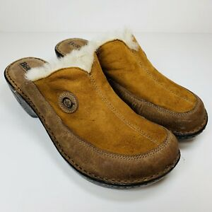 Born Laraine Women's Sz 10 Slip on Clogs/ Mules 👞 Tan Suede/ Sherpa Shoes VHTF