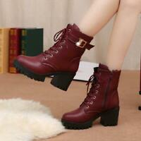 New Womens Retro side zip Round Toe Lace Up Buckle Block Heels Ankle Boots #8_26