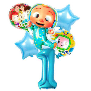 COCOMELON Blue Balloon Set for 1st Birthday Party FOIL HELIUM Decorations Kids 1