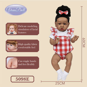 60CM Simulation Full Silicone Brown Eyes Black Hair Baby Girl Doll Toy Gift