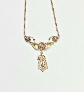 14k Collectable Chain and Filigree Pendant with Genuine White Sapphire