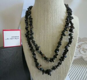 "Amy Kahn Russell Botswana & Black Agate Nugget/Chip Necklace-38""-No Clasp"