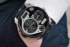 NEU Diesel DZ7125 Herren Armbanduhr Chronograph Edelstahl Leder Schwarz Silber