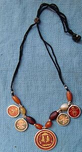 RARE VINTAGE STYLE SILVER NECKLACE WITH BEADS AND PENDANT NECKLACE VERY FINE ART