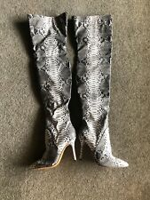 Womens Snakeskin Over The Knee Boots 7.5