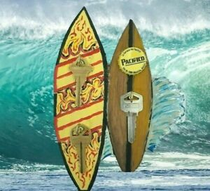 Handmade 3 Hook Surfboards Wall Mount Key Rack Holder/Hanger Handpainted Wood