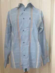 PAUL SMITH JEANS Size M Blue Shirt With Thin Lines And Rainbow Stripes- Pride