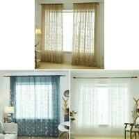Embroidery Leaves Tulle Curtains Home Window Screening Voile Sheer Curtain K1B