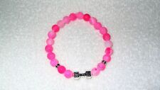 Pink Frost Agate Hand Weight Lifting Charm Bracelet Jewelry Workout Gym Health