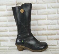 EL NATURALISTA Womens Black Leather Mid Calf Heeled Boots Size 7.5 UK 41 EU